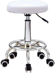 Rollhocker höhenverstellbarer Drehhocker auf Rollen mit Kunstleder bezogener Sitz, Arbeitshocker für Kosmetikstudios, Friseursalons, Büros, Praxen