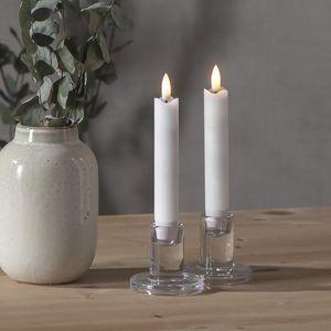 LED Stabkerze 'Flamme' - Echtwachs - warmweiße LED - H: 15cm - Timer - weiß - 2er Set