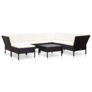 Huicheng 8-tlg. Polyrattan Sitzgarnitur Garten-Lounge-Set mit Cremeweiß Auflagen, Schwarz Gartenmöbel Sets Ecksofa , VD46801_DE