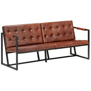 3-Sitzer-Sofa Braun Echtes Ziegenleder, Wohnlandschaft-Sofa, Couch, Relaxsofa Moderne