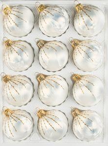12 tlg. Glas-Weihnachtskugeln Set in 'Ice Weiss Gold' Regen