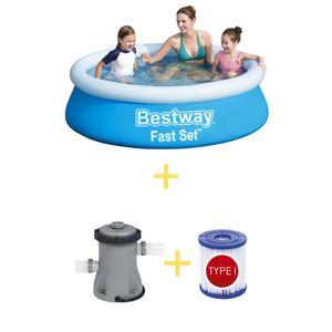 Bestway Pool - Fast Set - 183 x 51 cm - Inklusive Filterpumpe & Filter