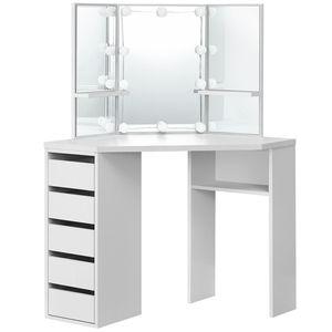 Juskys Eck-Schminktisch Nova – Kosmetiktisch 100 x 53 x 140 cm Weiß – Frisiertisch aus Holz mit Spiegel, LED-Beleuchtung, Schubladen & Ablagefächern