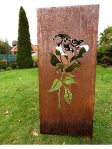 Sichtschutz Sichtschutzelement Stele Wand Edelrost Rost 150 x 62 cm inkl. Bodenanker Rose