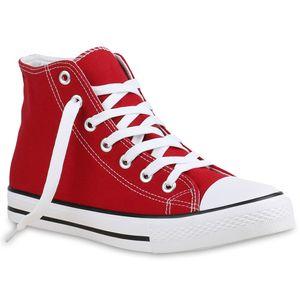 Mytrendshoe Herren High Top Sneakers Sportschuhe Stoffschuhe Freizeit Schuhe 815564, Farbe: Rot, Größe: 43