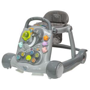 ib style® LITTLE DOLPHIN 2 in 1 Babywalker Lauflernwagen Lauflernhilfe Licht- und Soundeffekte GRAU