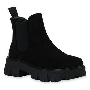 VAN HILL Damen Stiefeletten Plateau Boots Blockabsatz Profil-Sohle Schuhe 836326, Farbe: Schwarz Velours, Größe: 39