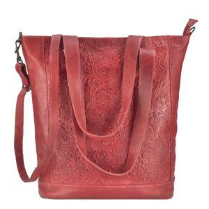 Bear Design Leder Shopper Damen Schultertasche Handtasche Flower-Prägung rot CP1997