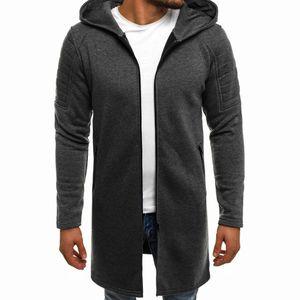Männer Spleißen Kapuze Solid Trenchcoat Falten Cardigan Langarm Outwear Bluse Größe:XL,Farbe:Dunkelgrau