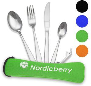 Nordicberry Premium Outdoor Reisebesteck und Campingbesteck aus hochwertigem Edelstahl mit Neoprentasche (Grün)