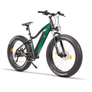 Fitifito FT26 26 Zoll Elektrisches Fahrrad Pedelec Fatbike Mountainbike Elektrofahrrad 48V 250W Heckmotor 48V 13Ah 624W Samsung Akku, 9 Gang, hydraulische Scheibenbremsen BÜCHEL Scheinwerfer schwarz grün