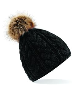 Damenmütze Fur Pom Pom Cable Beanie / Luxus-Kunstfell-Bommel - Farbe: Black - Größe: One Size