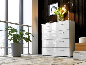 Schubladen-Kommode MALAGA 3 in Weiß Hochglanz