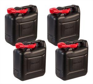 4x 10 Liter Benzinkanister mit Kindersicherung - Aus Kunststoff - Mit Ausfüllrohr - Schwarz, rot