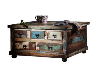 SIT Möbel Couchtischtruhe | 5 Schubladen, 1 Klappe | Altholz bunt lackiert | B 90 x T 90 x H 47 cm | 09194-98 | Serie RIVERBOAT