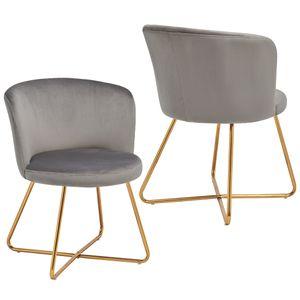 Duhome 2er Set Esszimmerstuhl Polsterstuhl aus Stoff Samt Grau Metallgestell goldfarben