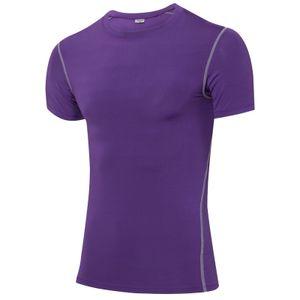Sexydance Herren Trainieren T-Shirt Kompression Kurzarm Slim Fit Base Layer Sport T-Shirts,Farbe:Lila,Größe:M