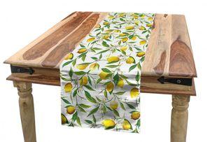 ABAKUHAUS Natur Tischläufer, Zitrone Woody Romantisch, Esszimmer Küche Rechteckiger Dekorativer Tischläufer, 40 x 180 cm, Farngrün Gelb Weiß
