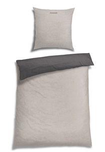 Schiesser Feinbiber Wendebettwäsche Doubleface, 100% Baumwolle, Farbe: silber, Größe: 135 cm x 200 cm