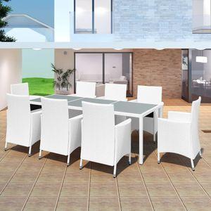 9-teiliges Outdoor-Essgarnitur Garten-Essgruppe Sitzgruppe Tisch + stuhl Poly Rattan Cremeweiß