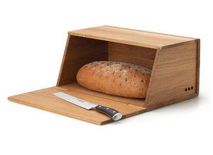 Continenta Großer Brotkasten Holz mit Schneidebrett, Eiche, 40 x 26 x 18,5 cm, mit Belüftung, lange Haltbarkeit und knuspriges Brot