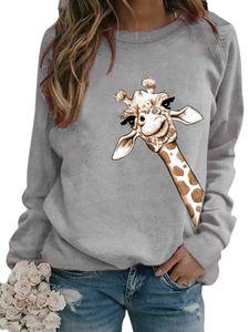 Damen Lose Casual Animal Print Langarm Top Pullover T-Shirt,Farbe: Grau,Größe:3XL