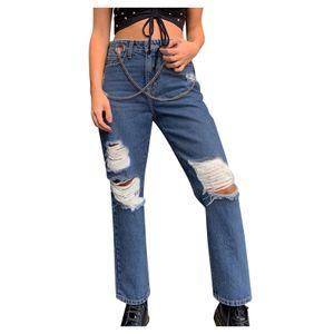 Hoch taillierte Damenhose mit gerader Jeans und lässiger Baggy-Hose für Damen Größe:S,Farbe:Blau