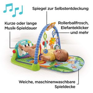 Rainforest Piano Gym Baby Spieldecke mit Musik und Licht inkl. Spielzeug grün Babyausstattung ab Geburt