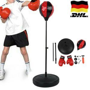 Kinder Boxen Set Punchingballs Standboxsack Kit  höhenverstellbar Rot &Schwarz 105CM