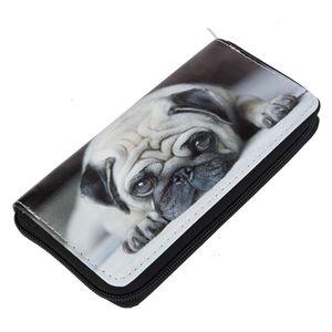 DonDon Damen Geldbörse Geldbeutel - süßer Mops Hund schwarz beige