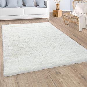 Hochflor Teppich Wohnzimmer Fellteppich Kunstfell Shaggy Flauschig Einfarbig Weiß, Grösse:140x200 cm