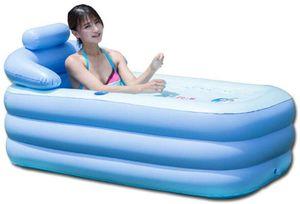 Aufblasbare Badewanne Faltbare Bathtub SPA Reise Pool Schwimmen Schwimmbad Schwimmbecken Durable 160cm (Blau)
