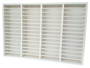 MC Regal für 60 Kassetten, Medienregal aus Holz (Kiefer), fertig montiert, Farbe Weiß