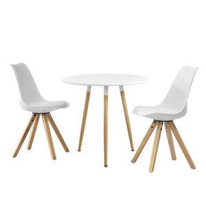 [en.casa] Esstisch rund weiß [Ø80cm] mit 2 Stühlen weiß gepolstert Esszimmer Essgruppe Küche