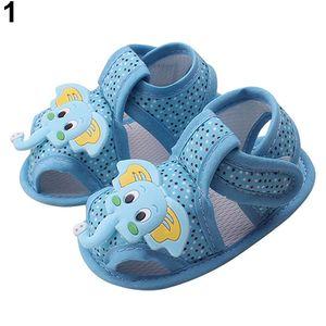 Baby Sommer Cartoon Elefant Muster Weiche Sohle Schuhe Kleinkind Sandalen Blau 0-6 Monat