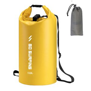 10L PVC Wasserdichter Packsack Rolltop Dry Sack fuer Camping Wandern Kajak Rafting Bootfahren Gelb