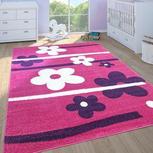 Kinderteppich Kinderzimmer Spielteppich Kurzflor Motiv Blumen In Pink Lila, Grösse:120x170 cm