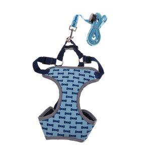 LED Hundegeschirr Einstellbar Brustgeschirr weich Hunde Geschirr mit Führleine für alltägliche und sportliche Aktivitäten Farbe Blau M