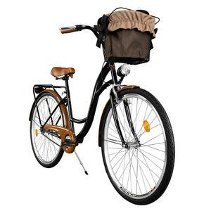 Milord Komfort Fahrrad Mit Korb Damenfahrrad, 28 Zoll, Schwarz-Braun, 1 Gang