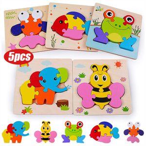 Holzpuzzle 3D Steckpuzzle Holzspielzeug, Montessori Spielzeug,Frühpädagogisches Vorschulspielzeug, Bestes Geburtstagsgeschenk für 3 4 5+ Jahre (5 Pack)