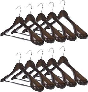 Kleiderbügel und Anzugbügel aus Holz mit extra breiter Schulterauflage 10 Stück (Dunkle Farbe)