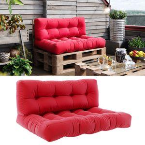 Vicco Palettenkissen Set Sitzkissen + Rückenkissen 15cm hoch Palettenmöbel Flocke rot