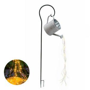 Eisen Lichterhaus Windlicht Gartendeko rostige Deko Eisenkübel (Set mit Stab) Warmweißes Licht