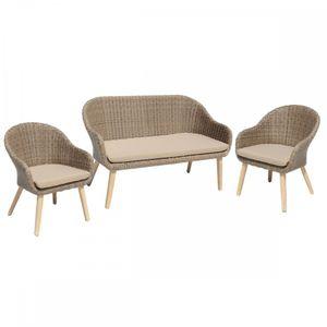 Garden Pleasure Garten Sofa + Stuhl-Set incl. Kissen, Sitzgruppe in Braun
