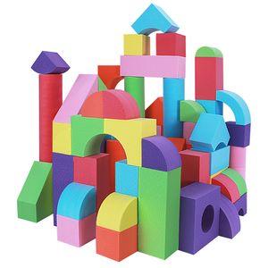 HAPPYMATY 79-teilig riesige Bausteine aus Schaumstoff Bauklötze EVA Baukasten Softbausteine Bauspielzeug für Kinder ab 3 Bausteine Schaumstoff Kinder