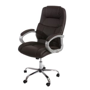 Profi-Bürostuhl Boston XXL Chefsessel Drehstuhl US-Version, 150kg belastbar, Kunstleder  braun