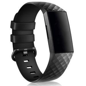 Sport Armband Gr. L für Fitbit Charge 3, Charge 4 Ersatzarmband Fitness Silikon Band Ersatzband