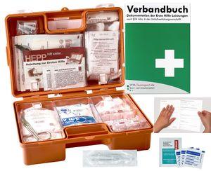 Verbandskoffer/Verbandskasten (K) INKL. 90° ARRETIERUNG Erste Hilfe DIN 13157 für Betriebe -DSGVO- INKL. PERFORIERTEM VERBANDBUCH