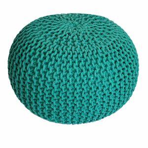 Sitzpouf Strickhocker Grobstrick handgeknüpft Ø 55 cm grün
