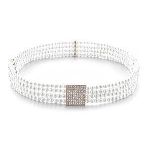 Frauen Perle Kristall Schnalle Dehnbar Taille Korsett Gürtel Taillengürtel Weiß 72cm